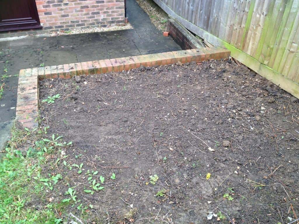garden patch cleared of unwanted vegetation