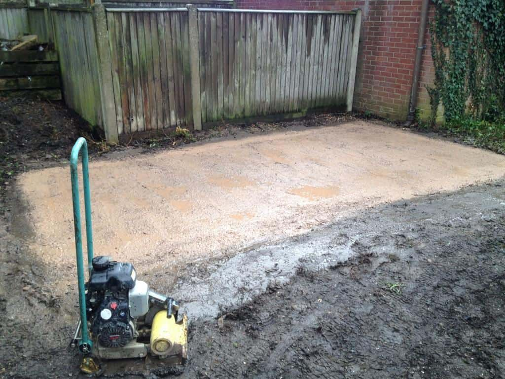 aggregate compacted and site ready for caravan