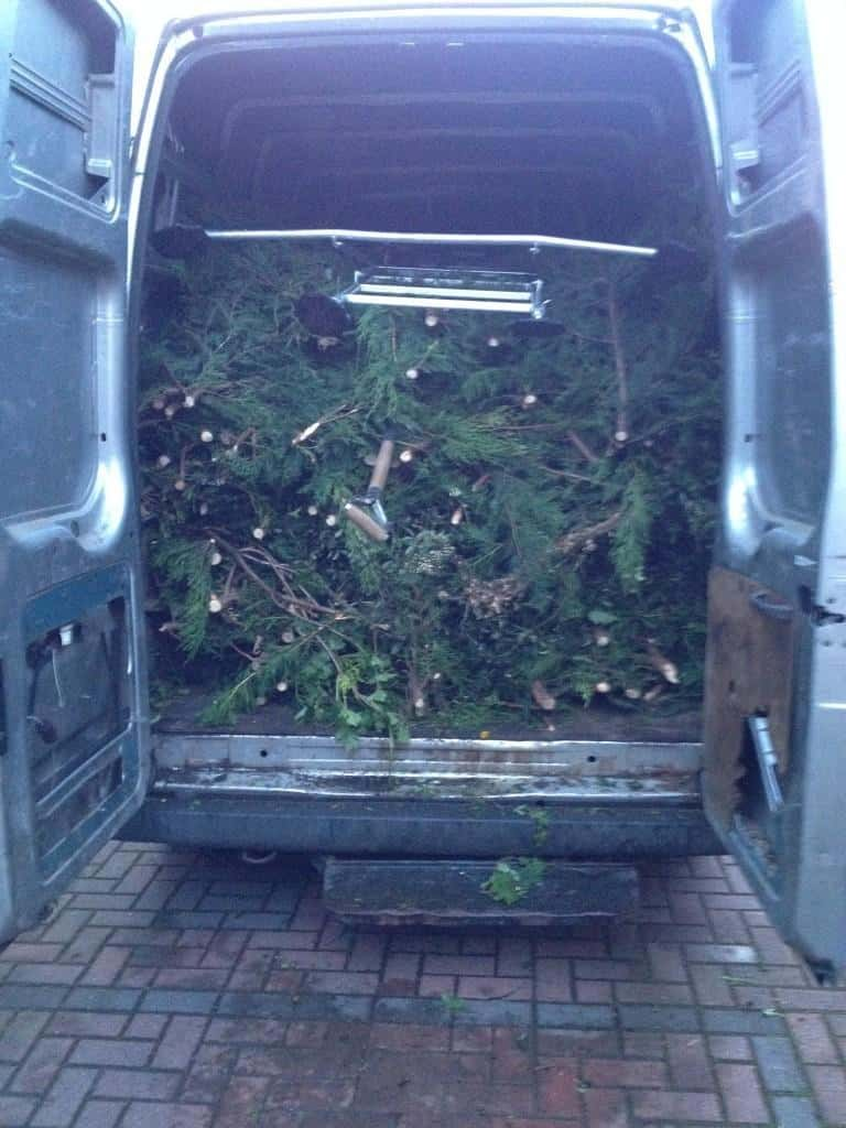 one garden and the amount of green waste from leylandaii hedge reduction