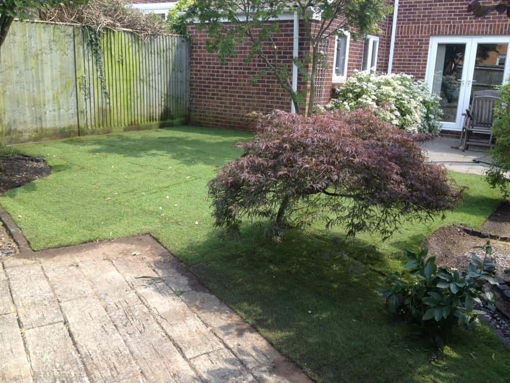 garden makeover clearing and turfing done