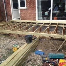 decking being constructed
