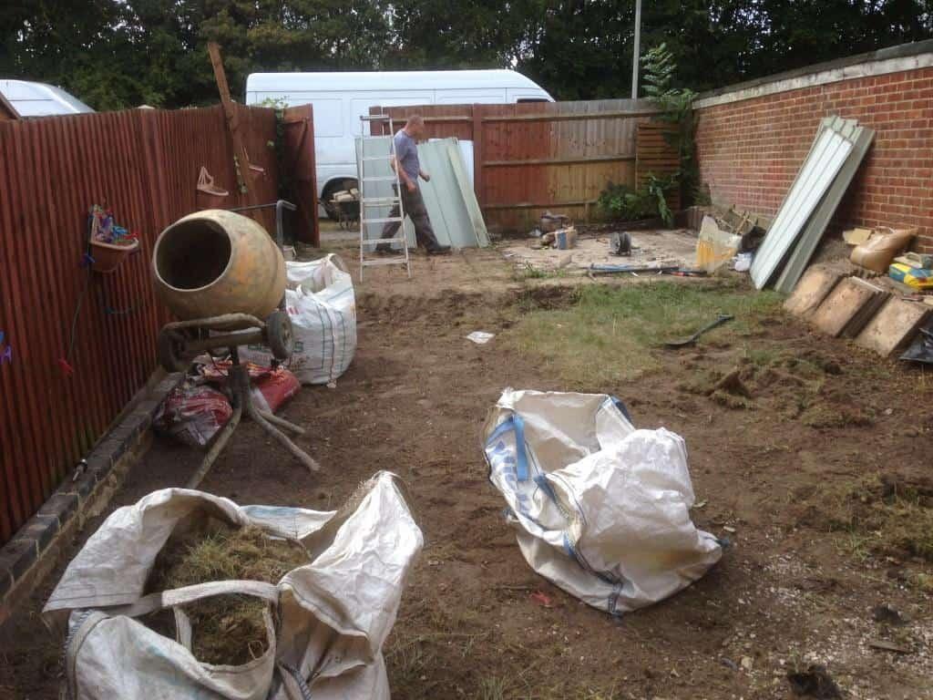 garden in woodley being transformed