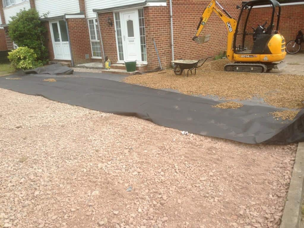 gravel driveway being laid