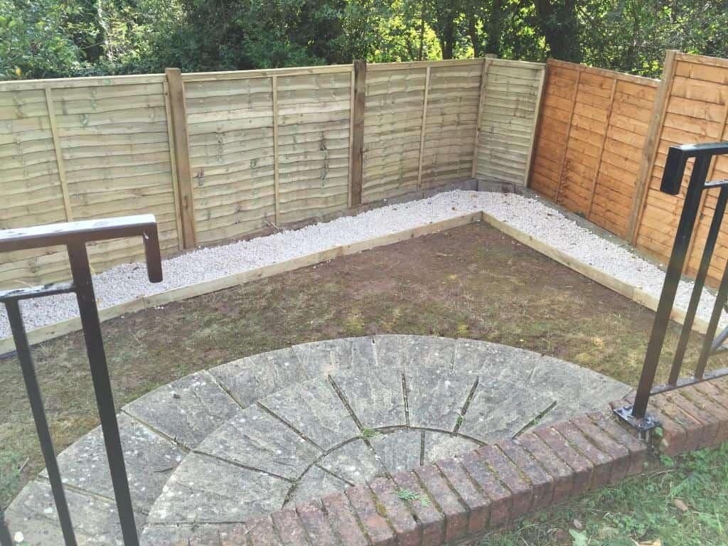 Garden hedges cut / garden borders redone / fence erected