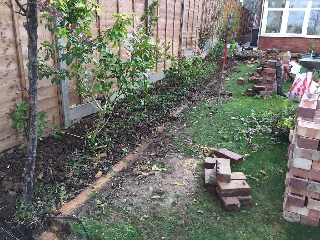 garden brick border under repair
