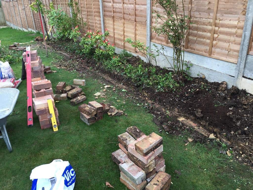 Garden brick border construction