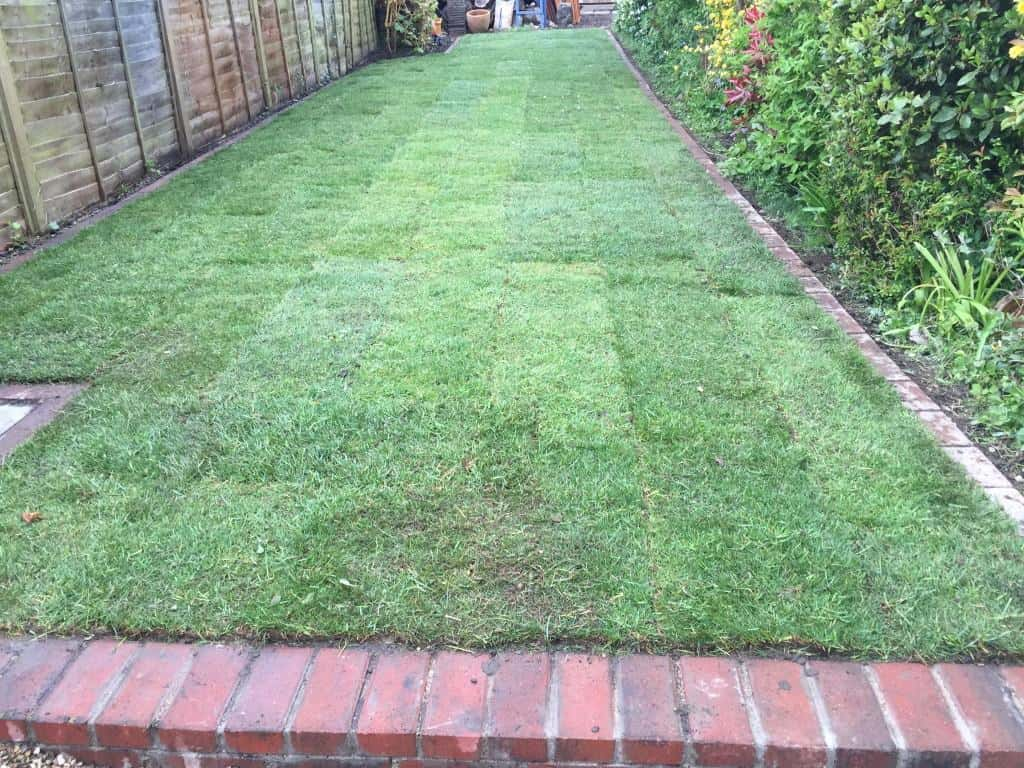 Lawn edging construction and returfing.