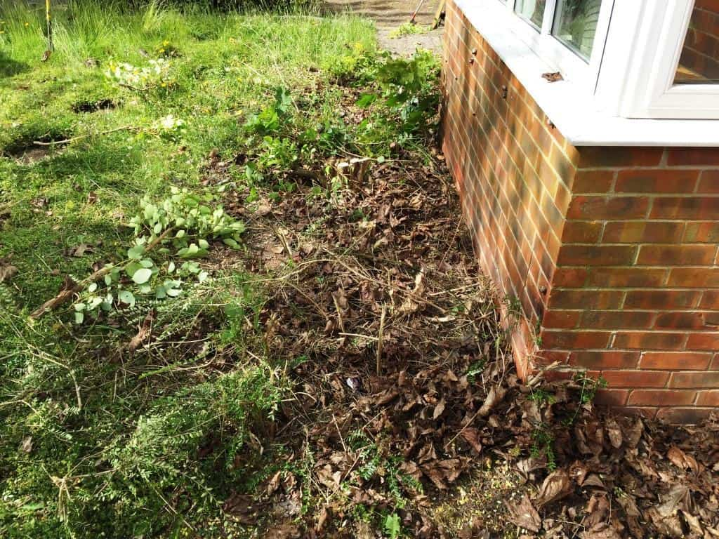 turfing and brick edging