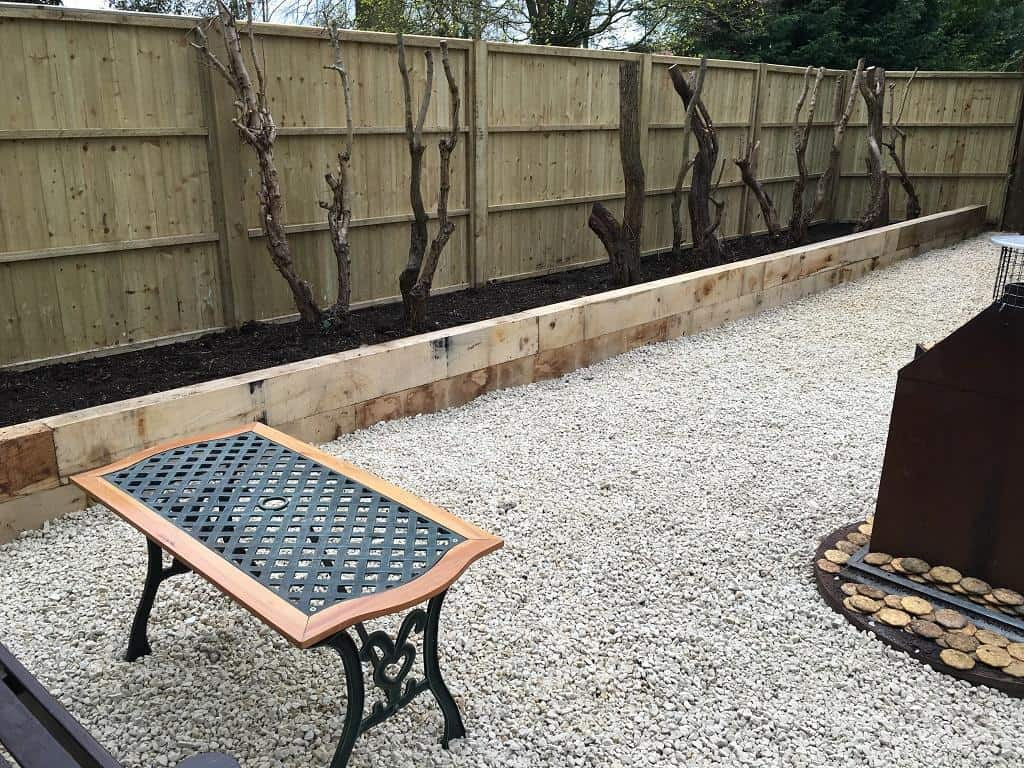 Oak railway sleepers installation