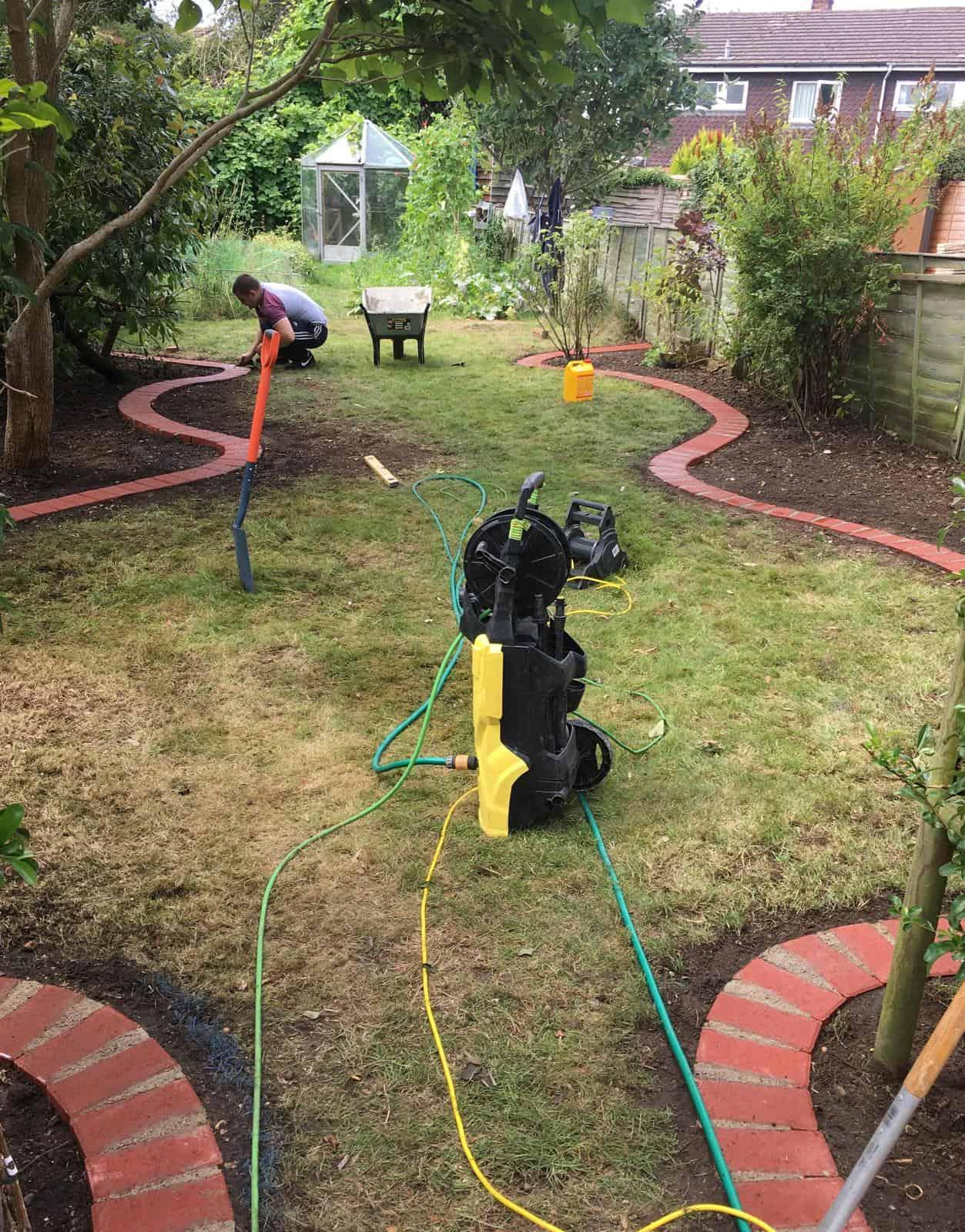 Edging in garden using paving blocks
