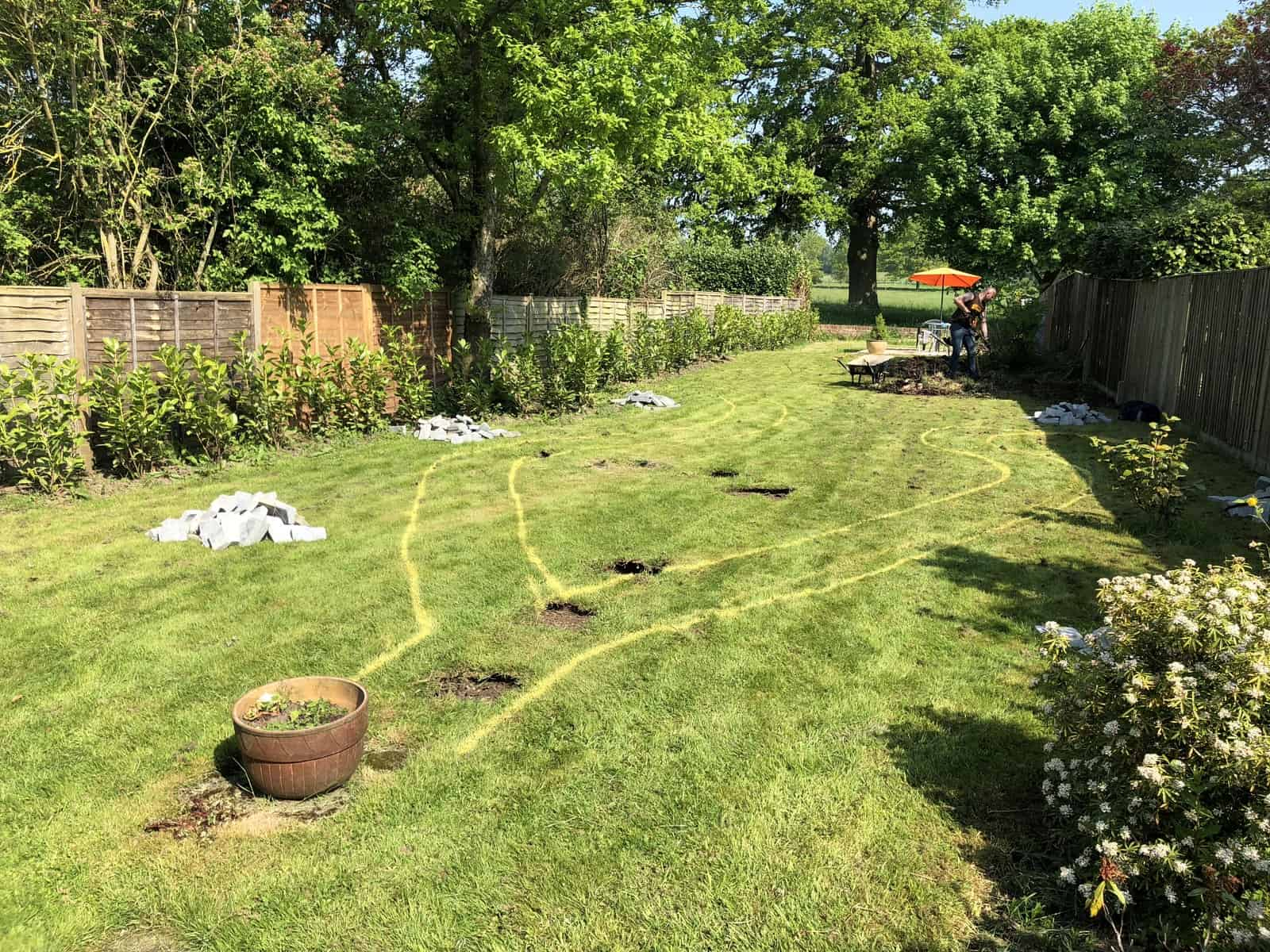 garden pathway to be constructed here